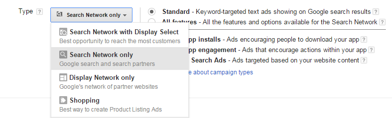 adwords account structure screenshot showing how to choose search network only