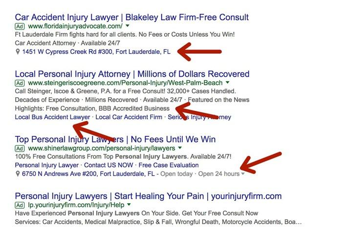 personal injury law firm adwords
