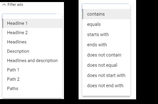 adwords-ad-variations-filter-options
