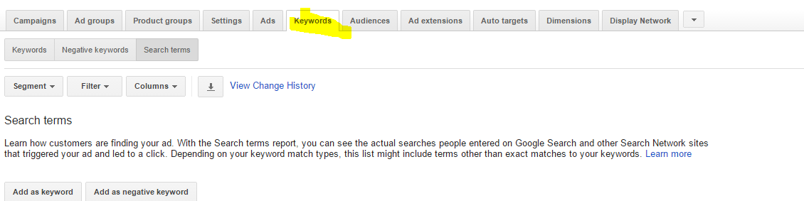 New AdWords add search queries as keywords feature