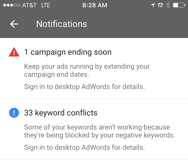AdWords app iOS mobile notifications
