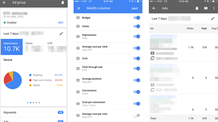 AdWords app iOS reporting dashboard