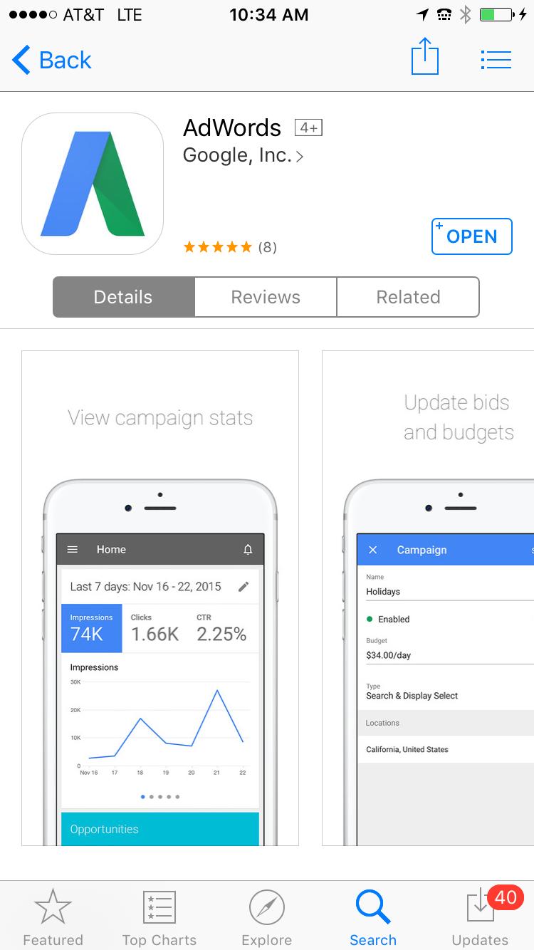AdWords app iOS