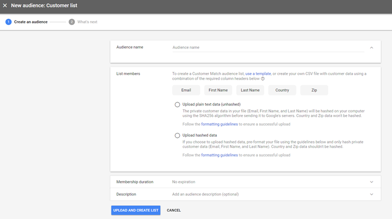 adwords customer list audience for display ads