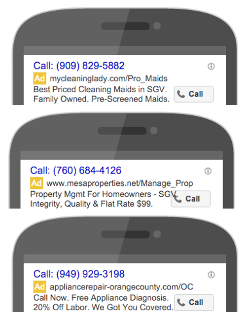 adwords call only ad mobile mockup examples