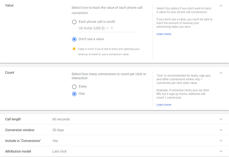 adwords call tracking value customization