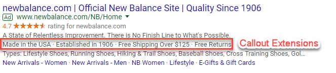 adwords callout extension example new balance
