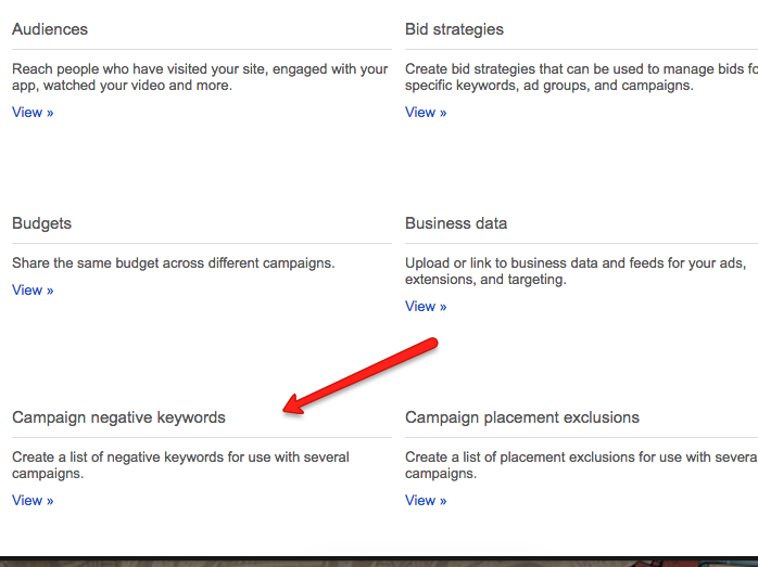 adwords campaign negatives