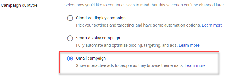 adwords campaign subtype gmail ads for email remarketing
