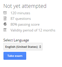 "AdWords Certification Test screenshot showing the ""Take Exam"" button"