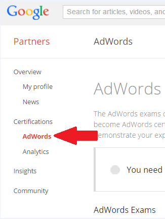 AdWords Certification Test screenshot showing where to find it