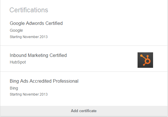 AdWords certification test screenshot showing the honor off on LinkedIn
