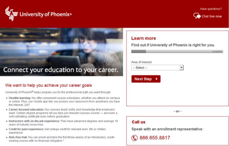 AdWords competition University of Phoenix example