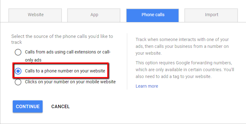 tracking conversions with phone number on landing page adwords