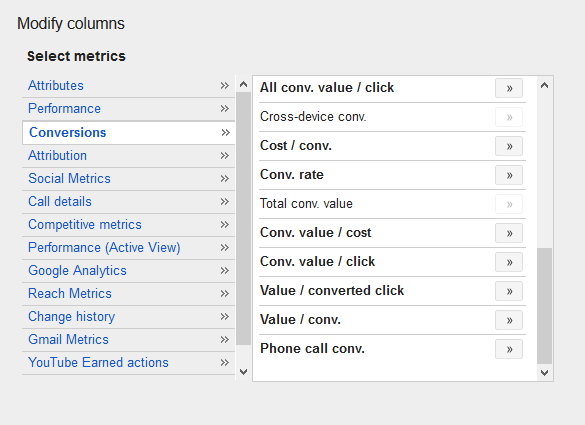 modify conversion columns in adwords