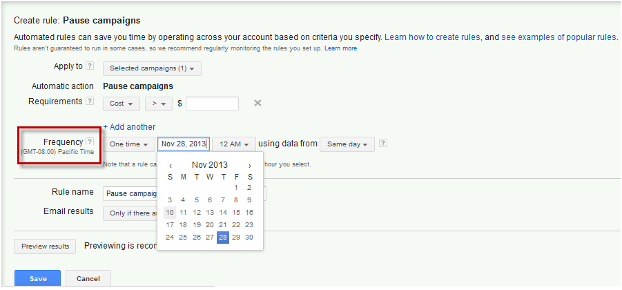 AdWords Create Automated Rule