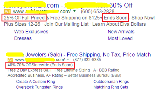AdWords CTR example of ad customizers