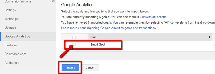 adwords custom conversion import from google analytics