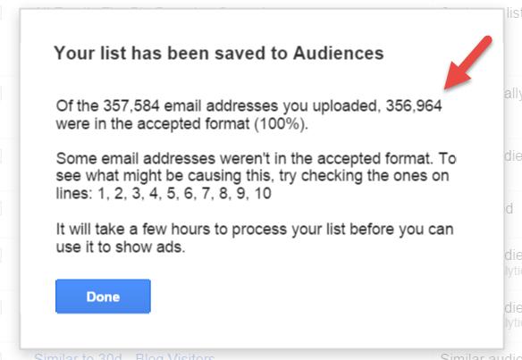 AdWords customer match custom audiences