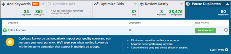 deduplicating adwords keywords wordstream software