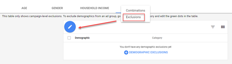 adwords demographic exclusions
