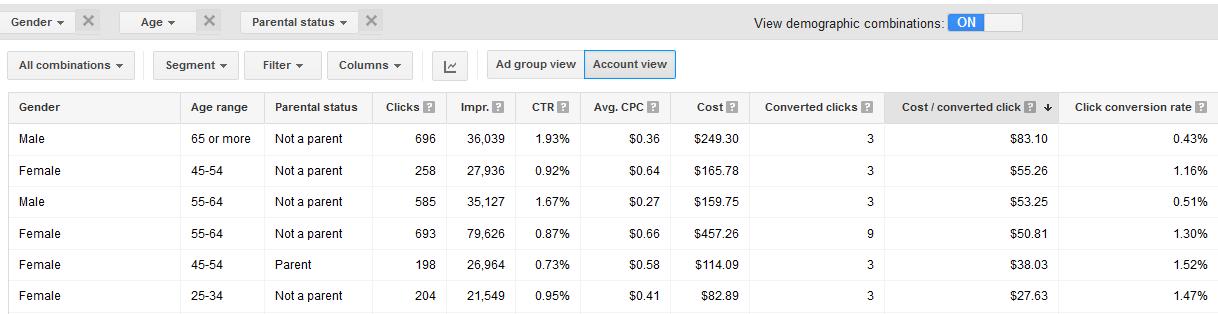 google adwords demographics