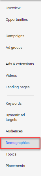adwords page tab demographic options