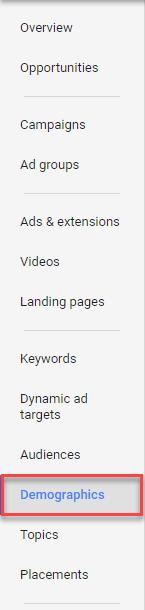 adwords page tab demographic options
