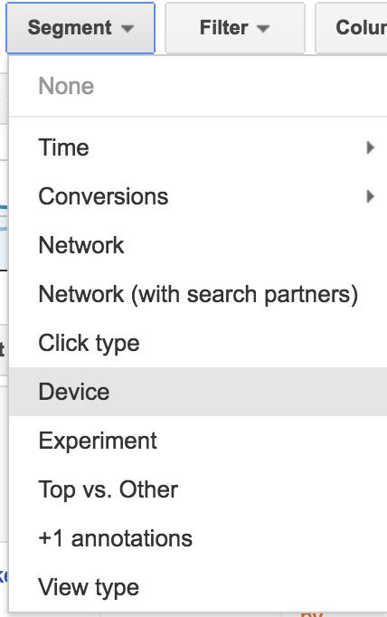 adwords ui device segmentation filter