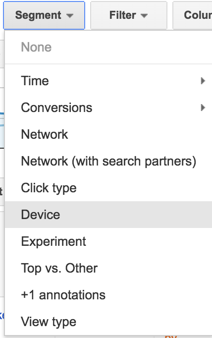 adwords ui device segmentation filter
