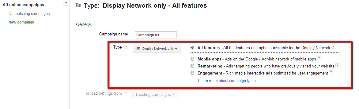 Google AdWords Display Network Settings