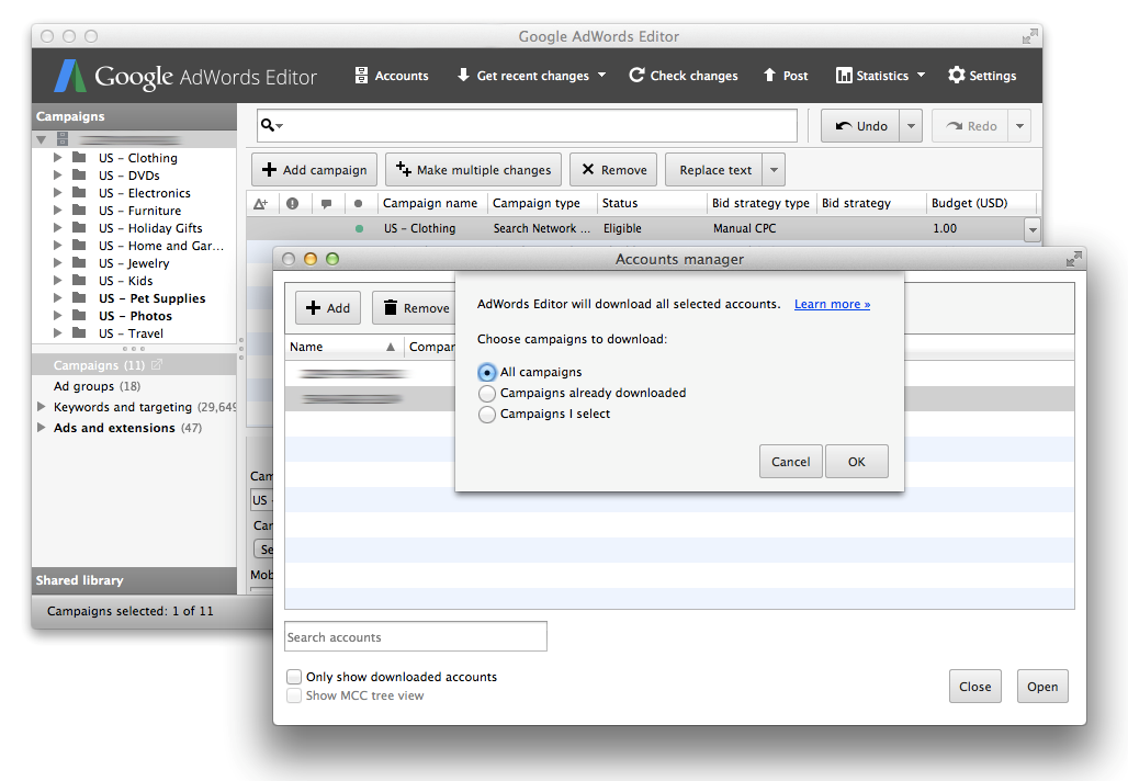 AdWords Editor 11 download an entire MCC