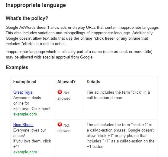 AdWords Inappropriate Language