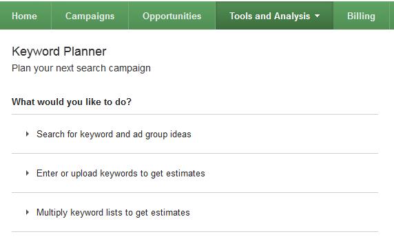 Google AdWords Keyword Planner Tool
