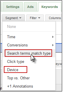 AdWords Segment Data