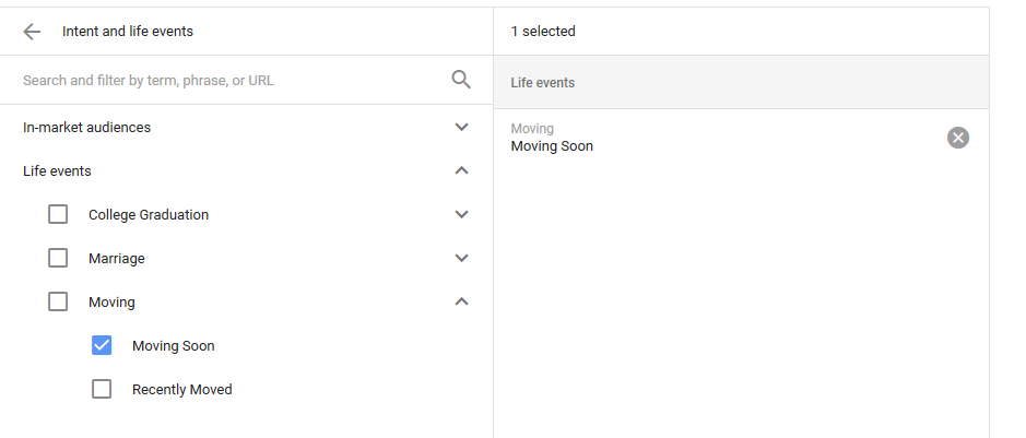 adwords life event targeting added in 2017