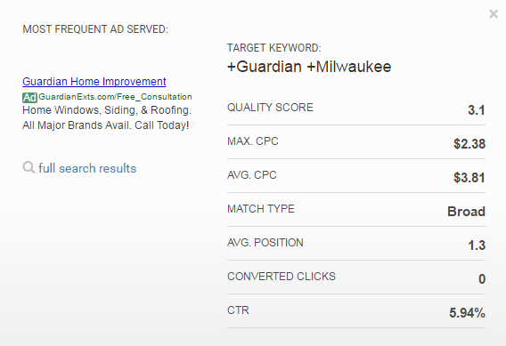 adwords target keyword analysis