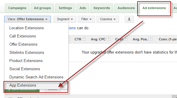 mobile app download extensions in adwords