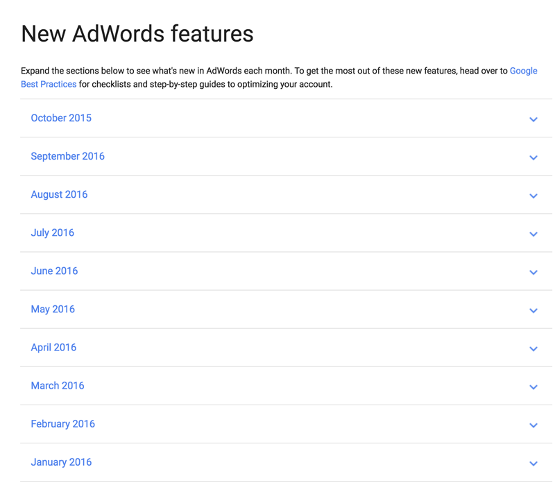 new adwords features released monthly