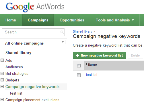 How to add negative keywords in AdWords