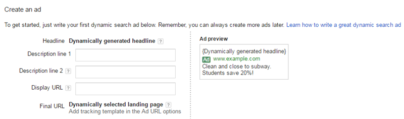 existing dynamic search ad creation ui adwords