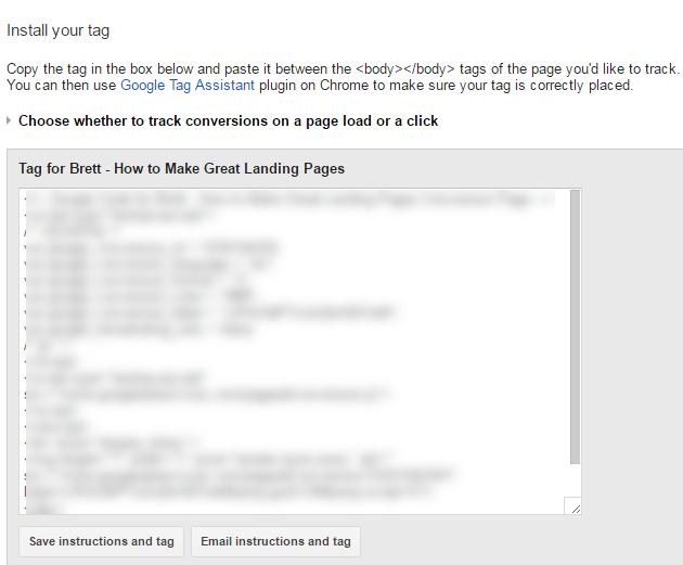 adwords nurture ppc install tag
