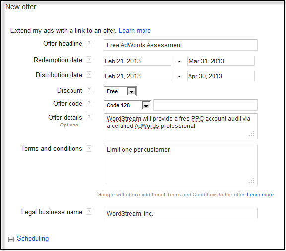 Create New Offer Extension