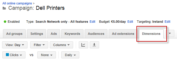 AdWords optimization Dimensions tab