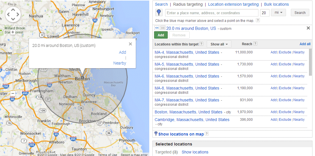 AdWords optimization geolocation targeting by radius
