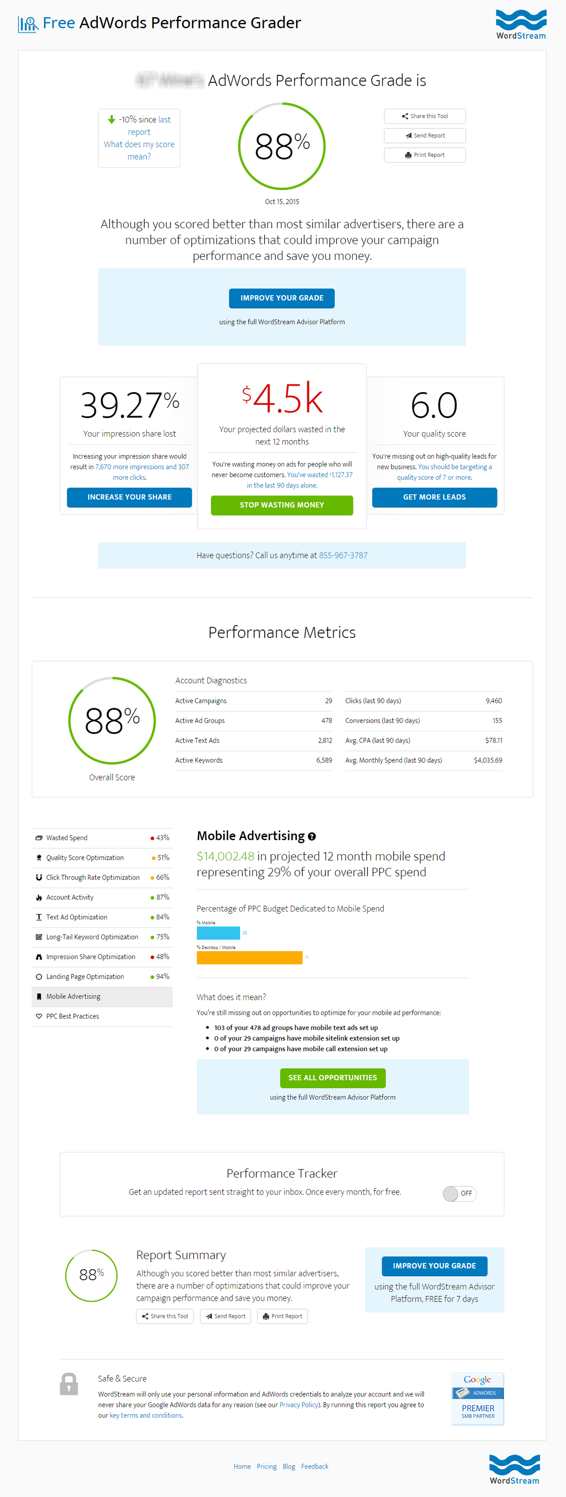 Google AdWords Performance Grader Report [ infographic ]