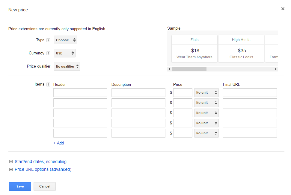 AdWords price extensions setup