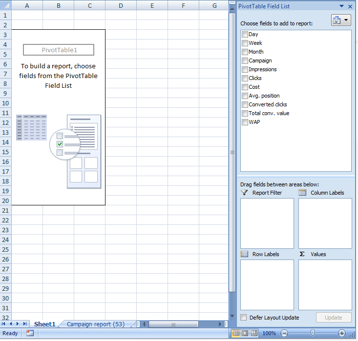 AdWords report pivot table fields