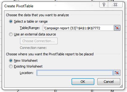 AdWords report pivot table