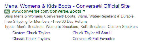 adwords search ad for converse shoes with ad extensions